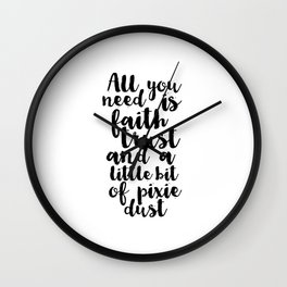 Pixie Dust Fairies And Pixies Peter Pan Quote Peter Pan Poster Nursery Print Kids Room Decor Wall Clock