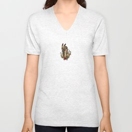 Squaw smoking a pipe Unisex V-Neck