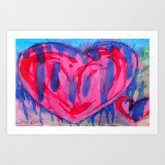 Bleeding Pink & Purple Heart Art Print