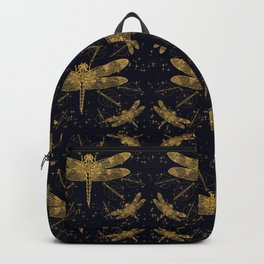 Golden dragonfly pattern - dark Backpack