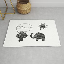 A Cozy Day of a Cute Elephant and His Friends Rug