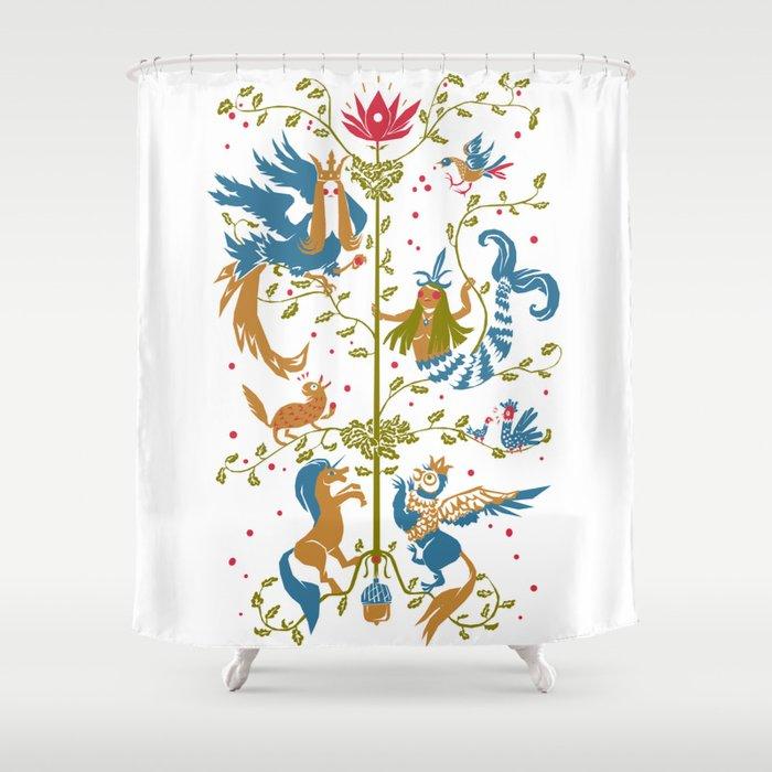 Slavic Tree Of Life Shower Curtain