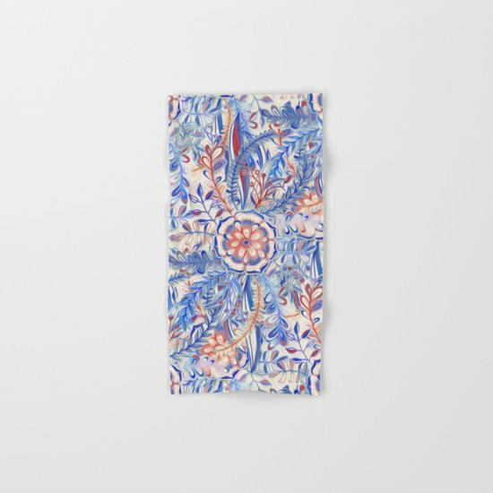 Boho Flower Burst in Red and Blue Hand & Bath Towel