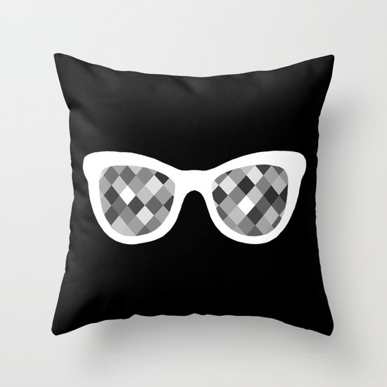 Diamond Eyes White on Black Throw Pillow