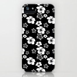 Black And White Floral And Turtle Hawaiian Pattern iPhone Case