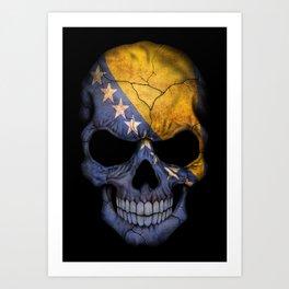 Dark Skull with Flag of Bosnia and Herzegovina Art Print