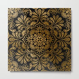 Sophisticated Black and Gold Art Deco Pattern Metal Print