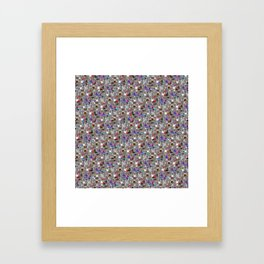 Small Print Dog Weim Nation Grey Ghost Weimaraner Hand-painted Pet Pattern on White Framed Art Print