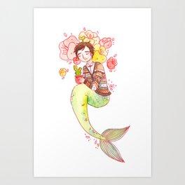 Sleeping Plant Merman Art Print