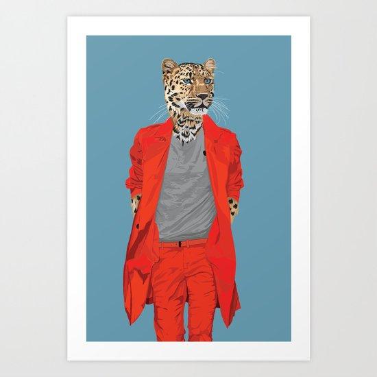 Leopard wearing Costume National Art Print
