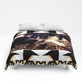 Love & Peace Cats on Black,White,Gold,Leopard Comforters