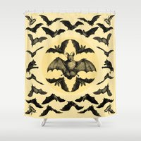 bats Shower Curtains featuring Bats Pattern by DIVIDUS