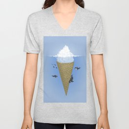 Ice Cream and Whale Unisex V-Neck