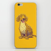 daschund iPhone & iPod Skins featuring Take a Woof on the Wild Side! by victor calahan