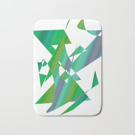 geometrical abstract shapes of green and blue Bath Mat