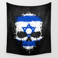 israel Wall Tapestries featuring Flag of Israel on a Chaotic Splatter Skull by Jeff Bartels