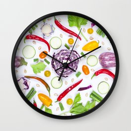 Vegetables pattern (5) Wall Clock
