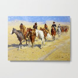 "Frederic Remington Art ""Pony Tracks In the Buffalo Trail"" Metal Print"