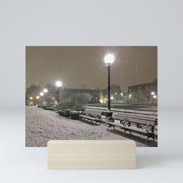 Romantic Seattle Snow At Night Mini Art Print