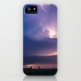 Lighthouse - Lightning Reveals Towering Storm Cloud After Dark in Oklahoma iPhone Case