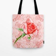 Pink rose on elegant kaleidoscope Tote Bag