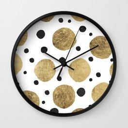 Modern abstract faux gold black watercolor polka dots pattern Wall Clock