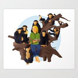 Jane Goodall and Chimps Art Print