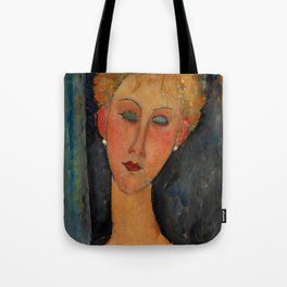 "Amedeo Modigliani ""A Blonde Wearing Earrings"" Tote Bag"