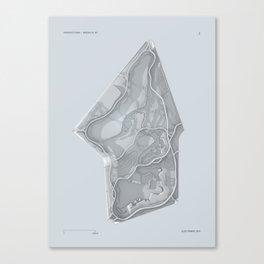 Brooklyn Prospect Park Map (Silver/Gray) Canvas Print