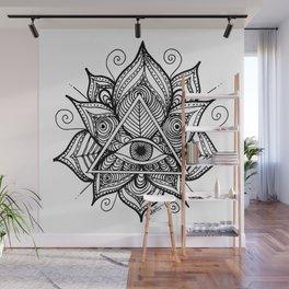 Black and White Evil Eye Lotus Wall Mural