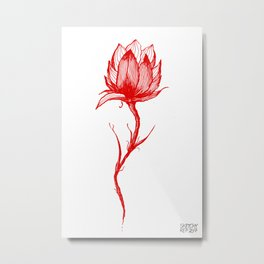 Flower in Red Metal Print