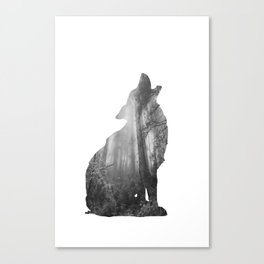 Wolf Silhouette | Forest Photography | Black and White Canvas Print
