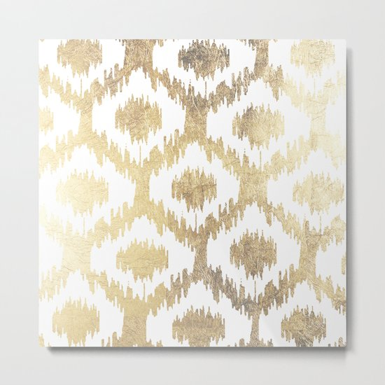 Modern white hand drawn ikat pattern faux gold  Metal Print
