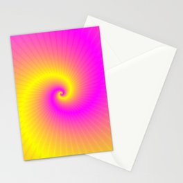 Pink and Yellow Spiral Stationery Cards