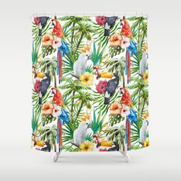 Tropical Birds Palm Trees Pattern Shower Curtain