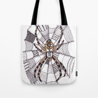 spider Tote Bags featuring Spider by Laura Maxwell