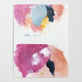 Cotton Candy: a bright, colorful abstract in pinks, blues, yellow, and white Poster