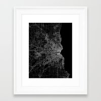 milwaukee Framed Art Prints featuring milwaukee map by Line Line Lines