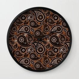 Chocolate Brown Paisley Pattern Wall Clock