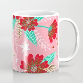Floral Moths - Pink Coffee Mug