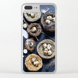 Easter background with eggs and nests Clear iPhone Case