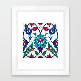An Ottoman Iznik style floral design pottery polychrome, by Adam Asar, No 38 c Framed Art Print