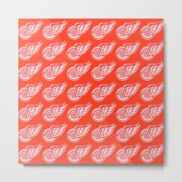 Red Wings Detroit Hockey Team Pattern Metal Print