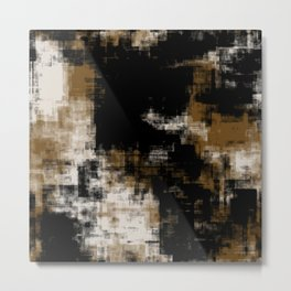 Gold Black and White Abstract 35 Metal Print