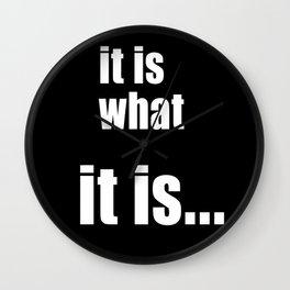 it is what it is (on black) Wall Clock