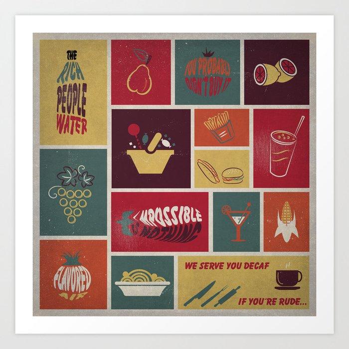 Vintage Food Collage Old Style Art Print