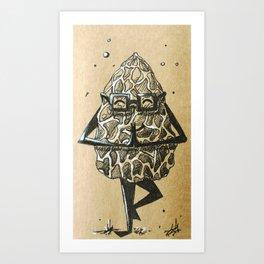 Namaste Morel Mushroom Art Print
