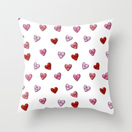 Hearts valentines day candy heart love sayings i love you pattern Throw Pillow