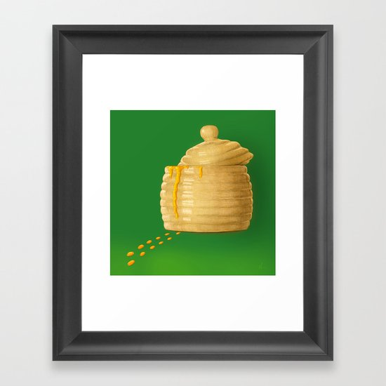 Dip Into The Honey Jar - Green Painting Framed Art Print