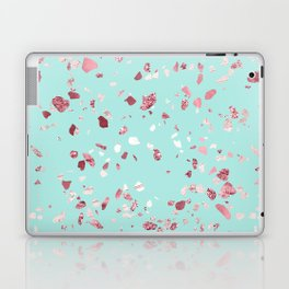 Turquoise and Rosegold Glitter Terrazzo Laptop & iPad Skin